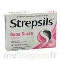 STREPSILS FRAISE SANS SUCRE, pastille édulcorée à l'isomalt, au maltitol et à la saccharine sodique à Courbevoie